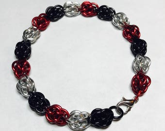 Black White and Red Sweet Pea Bracelet
