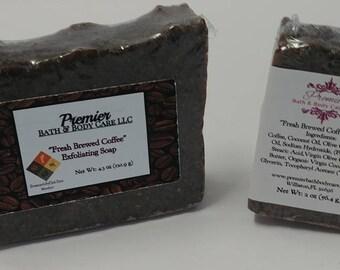 Fresh Brewed Coffee Exfoliating Soap   Ground Coffee Soap   Coffee Scrub Soap Bar   Coffee Soap