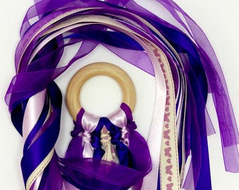 Children's Purple Hand Kite, Ribbon Dancing, Fairy Wand, Ribbon Wand, Ribbon Streamer, Movement, Dance, Rhythm, Rhythmic