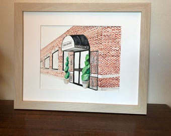 Custom House Building Business Painting Grayscale or Full color Watercolor Gift Anniversary Gift
