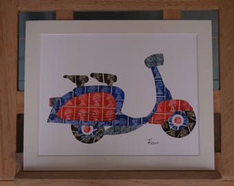 Lambretta - Recycled Postage Stamp Art