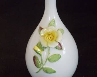 A Stunning Coalport  Bone China Vase With A Beautiful Relief Flower design