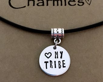 Love my tribe necklace/ family necklace /Choose your cord color Stretch Waterproof