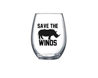 Save the Winos Stemless Wine Glass