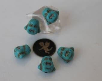 5 - jewelry - zen - turquoise howlite Buddha bead bracelet