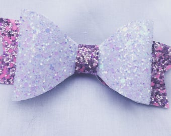 Vegan Glitter Leather Pink and White Bow
