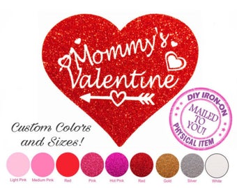 Diy MOMMY'S VALENTINE Iron-On Applique, Heat Transfer Vinyl, 1st, One, Birthday, Shirt, Decal, Girl, Boy, Patch, Child, Baby, Toddler, Kids