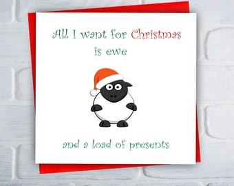 Funny Christmas Card / Adult Christmas Card / Sheep Card / Sheep Christmas / Ewe / Greeting Card / Free UK Shipping