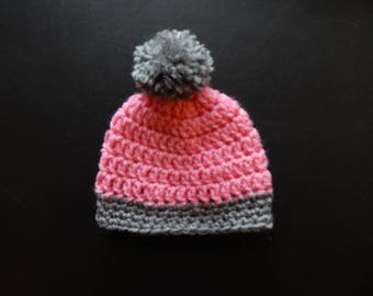 Crochet baby hat - Preemie to 24 months - Made to order - Baby girl hat - Handmade- Pink and heather gray