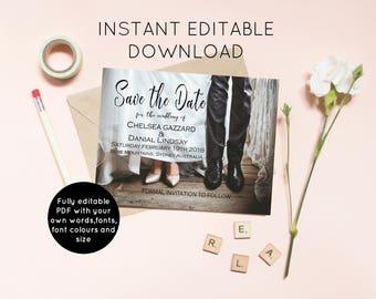 Wedding invitation Instant download, editable PDF invitations, wedding stationery, save the date printable, digital invitations, DIY wedding