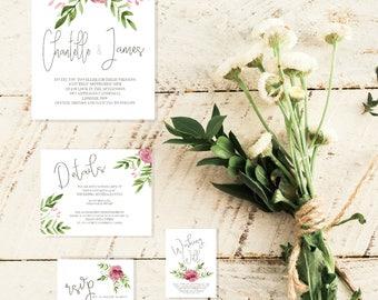 Wedding Invitation | Printable Wedding Invitation | Wedding invitations | Floral Wedding | Wedding Invites|chantelle Suite|Made in Australia