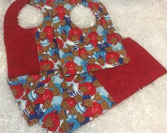 Sailor Teddy Flannel Bib & Burp Set Great Gift