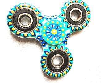 Turquoise and Blue Mandala Fidget Spinner, Glow in the dark fidget spinner