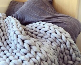 Chunky knit blanket, washable, christmas gift, christmas present