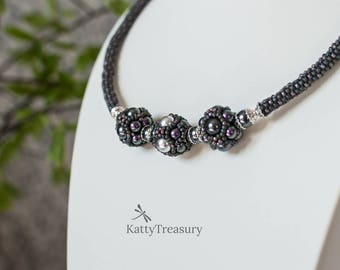 Swarovsky Pearls beaded necklace, Seed Bead Necklace, Statement necklace, Evening jevelry, Unique design, Giftr for her