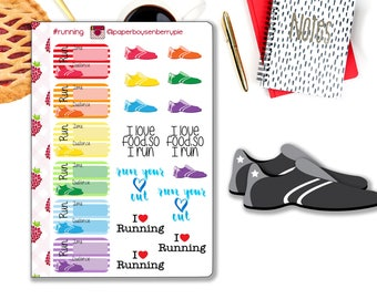 Running stickers -Running training stickers - Running - Planner Stickers - Calendar stickers - run stickers - marathon training stickers