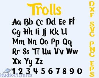 Trolls Alphabet, trolls font svg, svg fonts, Svg, Dxf, Alphabet letters, Calligraphy printables, Cursive Disney Svg Font, font svg, Cricut