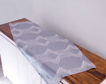 Grey green table runner with embroidery, 122 x 58 cm