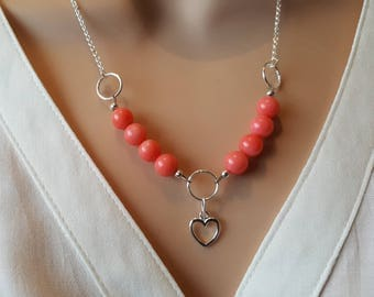 Pink Coral Necklace, Heart Necklace, Beaded Necklace, Pendant Necklace, Sterling Silver, Gemstone Necklace, Coral Jewellery, Gift For Her