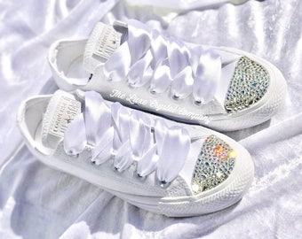 Luxe Crystal Custom Converse Mono White Wedding Bridal Shoes Sneakers In Clear Swarovski Rhinestones