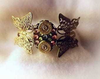 9mm Bullet Shells and Butterfly Bracelet