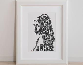 Handwriting Japanese Calligraphy Art Piece 'Girl with a Pearl Earring'