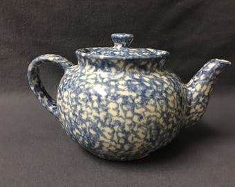 Vintage Roseville Ohio Pottery Blue Sponge Pattern Teapot Spongeware Pottery Farmhouse Decor