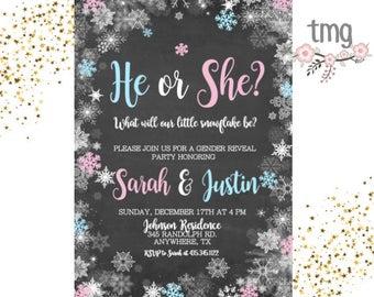 Winter Gender Reveal Invitation, Snowflake Baby Shower Invite, Baby Shower, Invitations, Digital File, Gender Reveal, he or she
