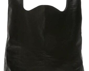 Maison Martin Margiela black smooth leather bag model SHOPPING XL mixed new 1095 Euros