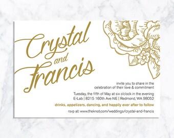 DIGITAL White + Gold Wedding Invitation