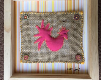 Upcycled textile hand stitched chicken art - framed