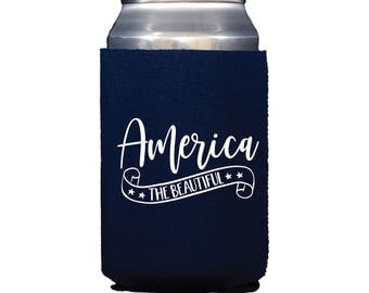 America the Beautiful Can Cooler, 4th of July Can Cooler, 4th of July Drink Holder, Patriotic Can Holder, 4th of July Favors