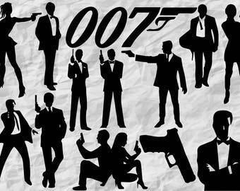 13 James Bond Silhouettes | James Bond SVG cut files | James Bond cliparts | 007 Silhouettes | cut files | digital | vectors | printable