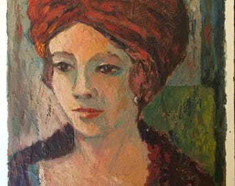 "Portrait of Woman in Turban / Original Signed ""Helen Eppink"" Portrait Painting"