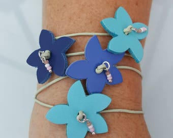 Leather flower wrap bracelet