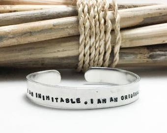 I Am Inimitable, I Am An Original,  Hamilton Bracelet, Silver Cuff, Musical Quote, Motivational Quote