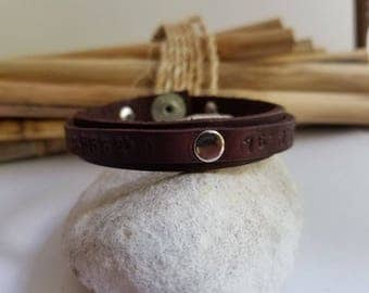 Men's Leather Cuff Bracelet, Personalized, Anniversary, Gift for Husband, Gift for Wife, Leather Engraved Bracelet