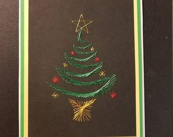 Christmas tree stiched card