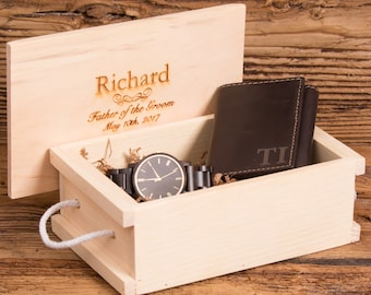Personalized Wallet & Watch Gift Set, Gifts for Him, Groomsman, Best Man, Father of the Bride, Groom, Graduation WS0003-BK 2417BRN
