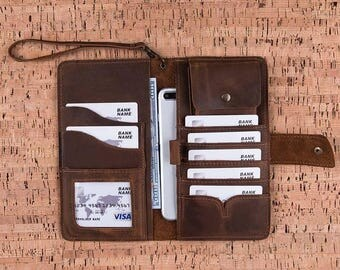 Leather Wallet, Leather Bag, Travel Bag, Leather Travel Bag, Passport Cover, Personalized Wallet, Leather Phone Case, Customize Wallet-BROWN