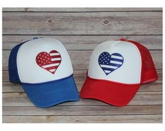Adult American Flag Heart Trucker Hat