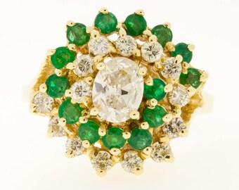 14K Emerald Diamond Princess Ring