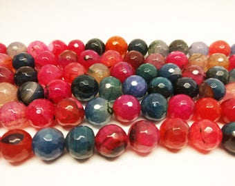Agate Beads Faceted Beads 12mm Agate Beads 12mm Beads Faceted Agate Round Multi Color Agate Beads for Jewelry Beads Jewelry Supplies Beading