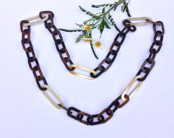 Buffalo Horn Chain Necklace Brown and ivory white (105cm) in length [TTC-096]
