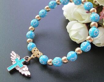 12 Pcs Angel Wing Cross Bracelet Favor for Boy - Baptism Favor / Christening Favor / Bautizo Recuerdos JA227-Blu