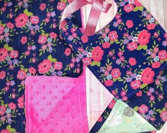 Baby Girl Gift Set/ Minky Baby Blanket/ Woodland Burp Cloth/ Woodland Baby Bib/ Bib/ Baby Shower Gift for Girl/ Woodland Baby Set/ Baby Girl