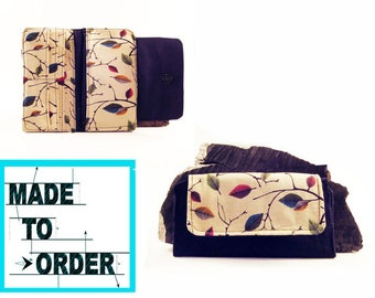 MADE TO ORDER- Women's bifold wallet, slim clutch wallet, handmade- fabric cash wallet- woman's credit card wallet, checkbook wallet