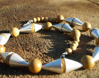 Yellow wood natural beads necklace - Sterling silver cones necklace - Geometrical necklace