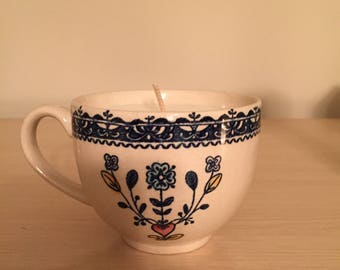 Whimsical teacup candle