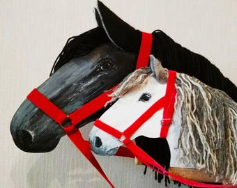 Black and white hobby horses stick horse wooden rocking horse two hobby horses horse lover gift stick horse stick pony wooden toy active games easter gift negle Gallery